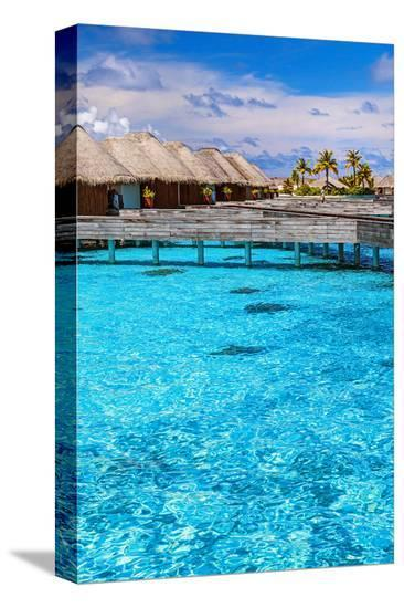 Maldives Bungalows &Blue Water--Stretched Canvas Print