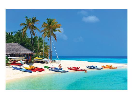 Maldives Island Beach & Boats--Art Print