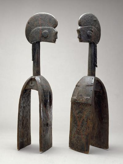 Male and Female Waja Masks, from Upper Benue River, Nigeria, 1850-1950- African-Giclee Print