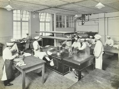 Male Cookery Students at Work in the Kitchen, Westminster Technical Institute, London, 1910--Photographic Print