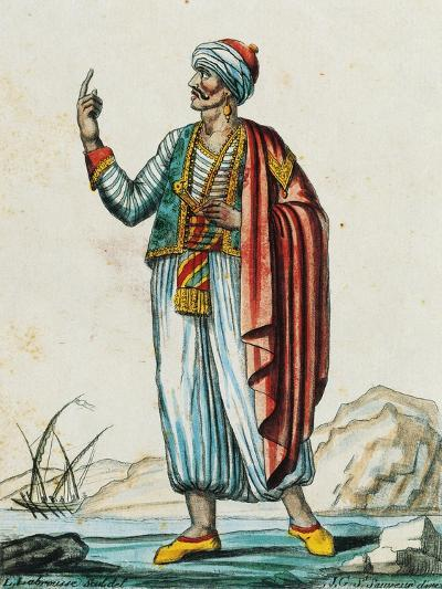 Male Costume from Barbarian and Muslim States, Color Engraving from Drawing by Labrousse--Giclee Print