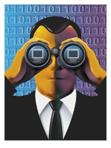 Male Cyber Spy Looking Through Binoculars