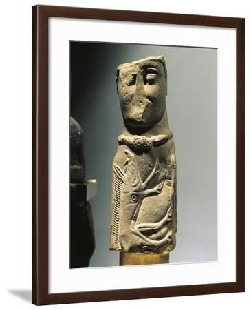 Male Deity Pillar Statue with Collar and Carved Wild Boar on Chest--Framed Giclee Print