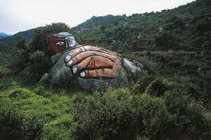 Male Face and Hand, Mural on Stone Near Orgosolo, Barbagia Ollolai, Sardinia, Italy