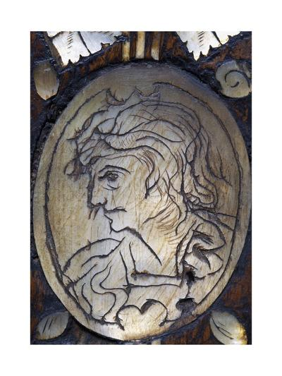 Male Face, Detail of Inlay on Venetian Architectural Cabinet with Inlays, Italy, 16th Century--Giclee Print