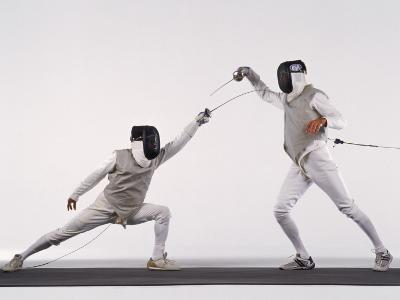 Male Fencer Making Lunging Attack in Foil--Photographic Print