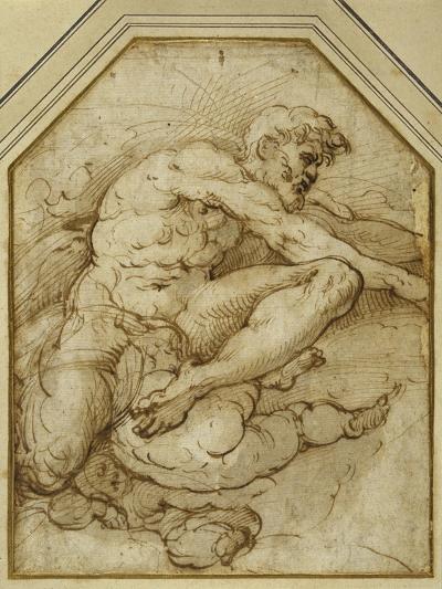 Male Figure, Born Aloft in Clouds by Putti-Parmigianino-Giclee Print