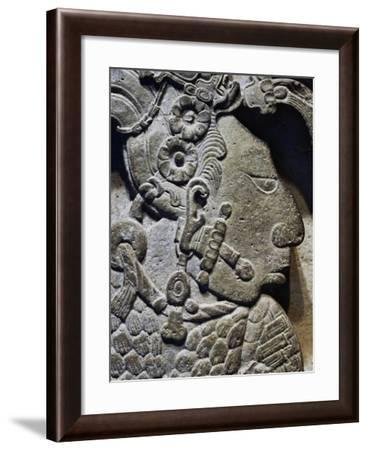 Male Figure, Detail from Bas-Relief from Yaxchilan Archaeological Site, Mexico--Framed Giclee Print