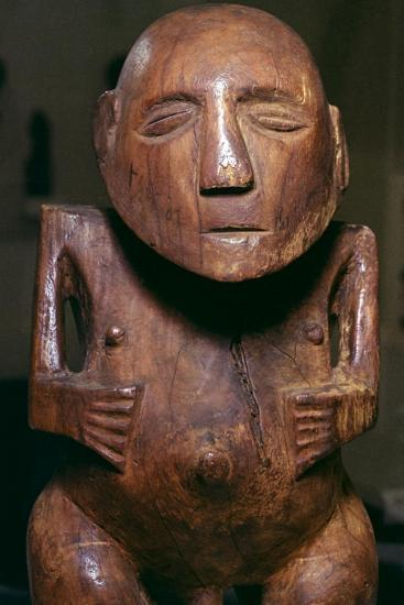 Male figure (ti'i) made of thespesia wood from the Society Islands in Tahiti, 19th Century-Unknown-Giclee Print