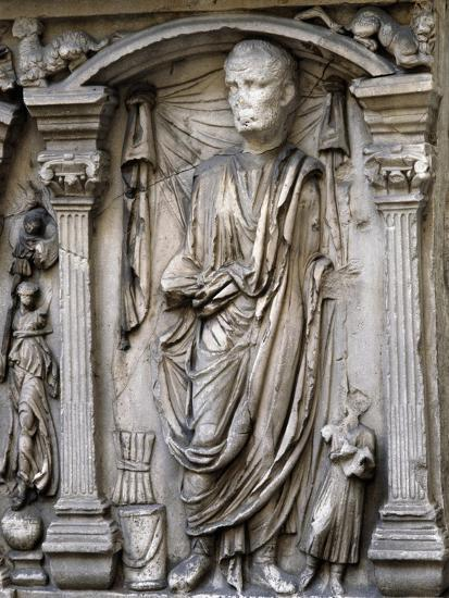 Male Figures in Draped and Pleated Robes, Decorations in Relief, Sarcophagus, Ancient Rome--Giclee Print