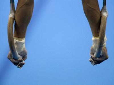 Male Gymnast Competing on Rings in Men's Qualification, 2004 Olympic Summer Games, Athens, Greece, -Steven Sutton-Photographic Print