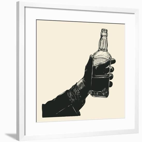 Male Hand Holding Bottle of Whiskey. Hand Drawn Design Element. Engraving Style. Vector Illustratio-jumpingsack-Framed Art Print