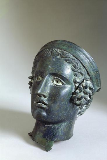 Male Head with Helmet, Bronze from Cagli--Giclee Print