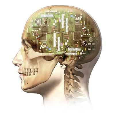 Male Human Head with Skull and Artificial Electronic Circuit Brain--Art Print