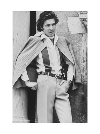 Male Model Wearing Silk Shirt and Wool Crepe Trousers-Henry Clarke-Premium Giclee Print