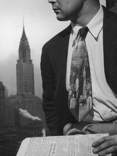 Male Model Wearing the Latest Trend with a photogrpahic fabric rendition-Nina Leen-Photographic Print