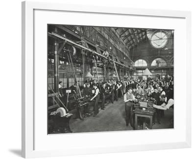Male Munitions Workers in Engineering Shop, School of Building, Brixton, London, 1915--Framed Photographic Print