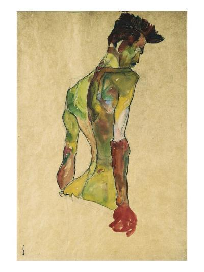 Male Nude in Profile Facing Right-Egon Schiele-Giclee Print