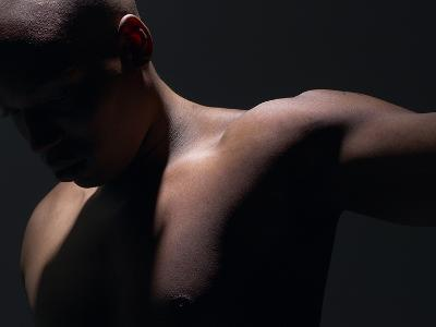 Male Nude in Shadows--Photographic Print