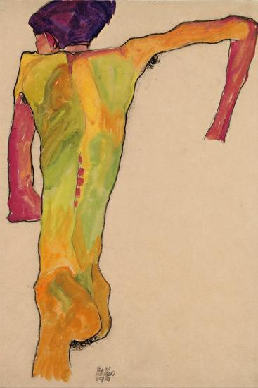 Male Nude, Propping Himself Up, 1910-Egon Schiele-Giclee Print