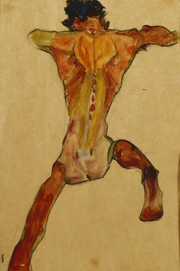Male Nude seen from Back-Egon Schiele-Stretched Canvas Print