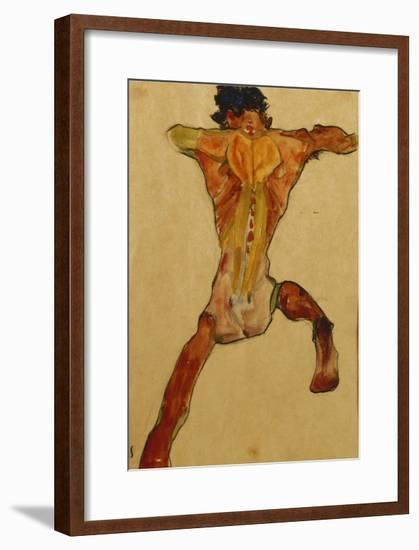 Male Nude seen from Back-Egon Schiele-Framed Giclee Print