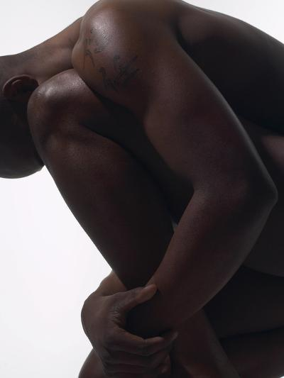 Male Nude Sitting--Photographic Print