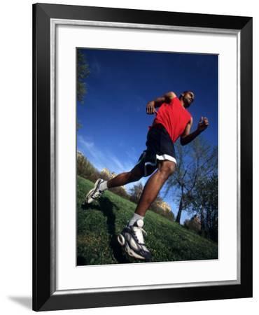 Male Runner Training, New York, New York, USA--Framed Photographic Print