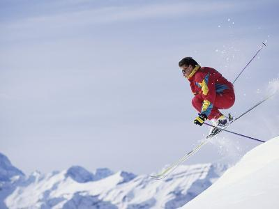 Male Skier Jumping--Photographic Print