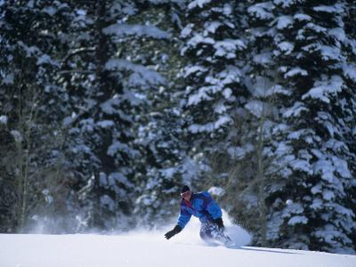 Male Snowboarder in Action--Photographic Print