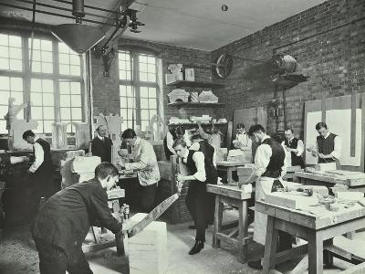 Male Students at Work in the Masons Shop, Northern Polytechnic, London, 1911--Photographic Print