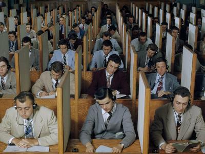Male Students Study Languages in a Large Listening Lab--Photographic Print