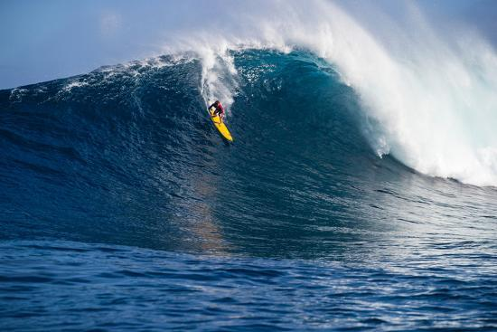 Male Surfer Surfing Wave in Pacific Ocean, Peahi, Hawaii, USA--Photographic Print