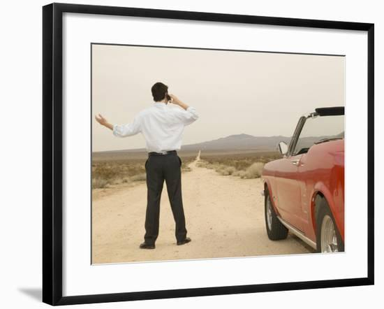 Male Young Adult on Cell Phone with Broken Down Car--Framed Photographic Print