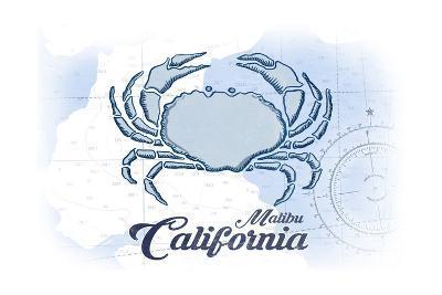 Malibu, California - Crab - Blue - Coastal Icon-Lantern Press-Art Print