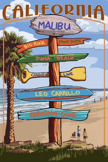 Malibu, California - Destination Signpost-Lantern Press-Wall Mural
