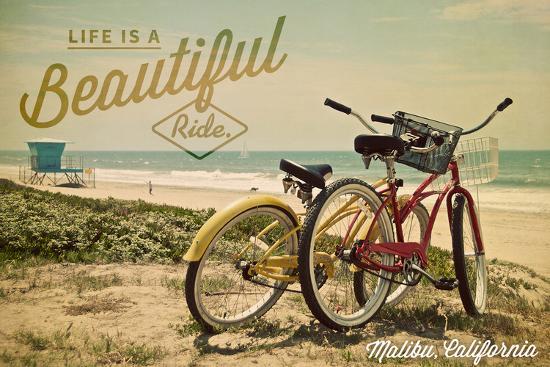 Malibu, California - Life is a Beautiful Ride - Beach Cruisers-Lantern Press-Wall Mural