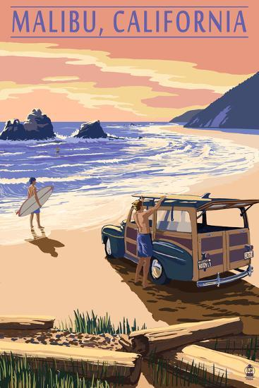 Malibu, California - Woodies on the Beach-Lantern Press-Art Print