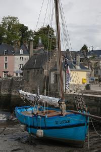 Harbor of St. Goustin on the River Auray in Brittany, Blue Sailboat by Mallorie Ostrowitz