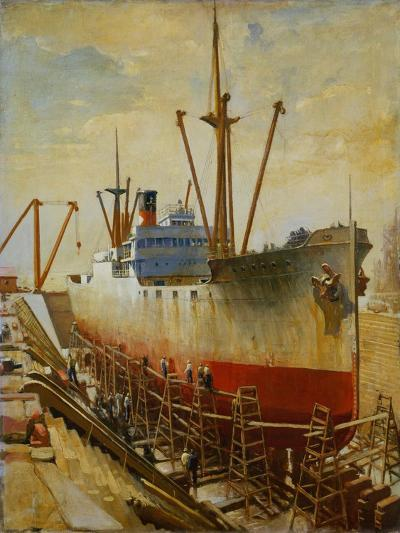 Mallory Line Freighter Mallemak in Dry Dock-Thomas C. Skinner-Giclee Print