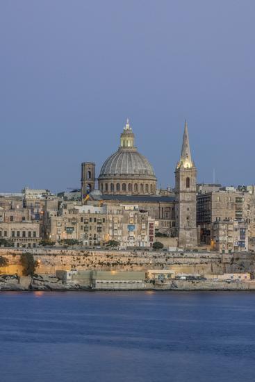Malta, Valletta, historic skyline at Dusk-Rob Tilley-Premium Photographic Print