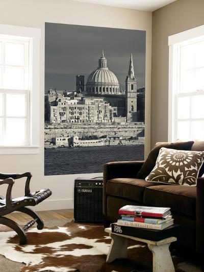 Malta, Valletta, Skyline with St; Paul's Anglican Cathedral and Carmelite Church from Sliema-Walter Bibikow-Wall Mural