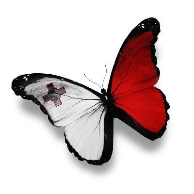 Maltese Flag Butterfly, Isolated On White-suns_luck-Art Print