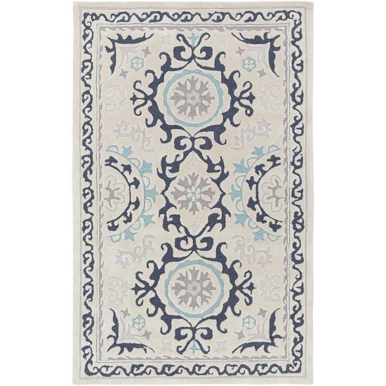 Mamba Medallia Area Rug - Light Gray/Aqua 5' x 8'--Home Accessories