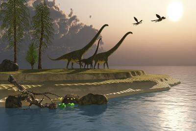 Mamenchisaurus Dinosaurs Walk to a Lake for a Morning Drink--Art Print