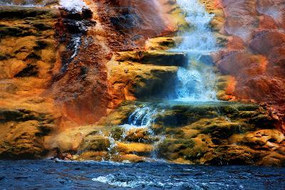 Mammoth Hot Springs Waterfall-Howard Ruby-Photographic Print