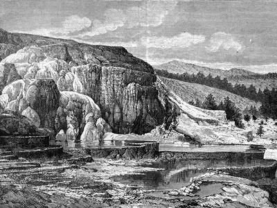 Mammoth Hot Springs, Yellowstone National Park, USA, 19th Century-Edouard Riou-Giclee Print