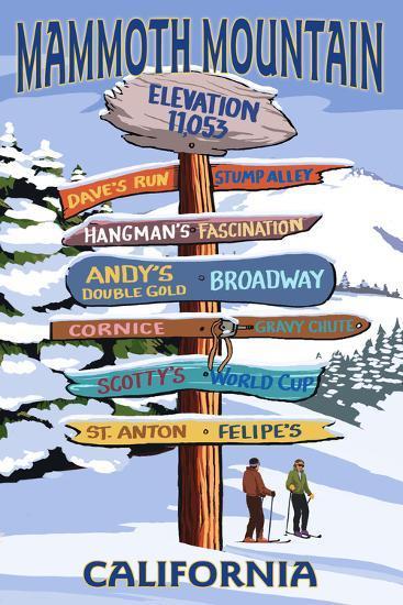 Mammoth Mountain, California - Ski Signpost-Lantern Press-Art Print
