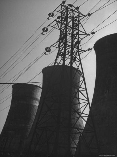 Mammoth Water Condensers at a Power Plant-George Lacks-Photographic Print