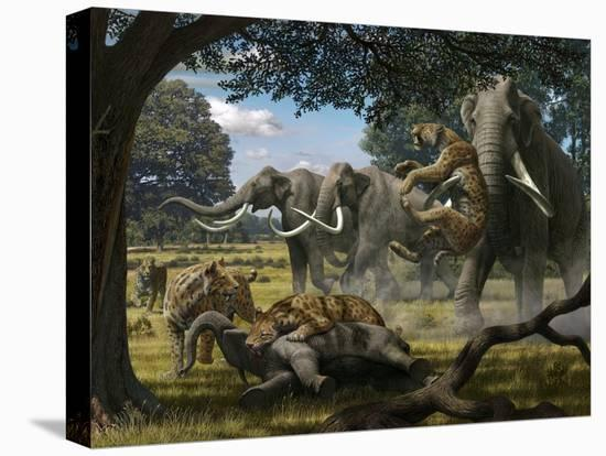 Mammoths And Sabre-tooth Cats, Artwork-Mauricio Anton-Stretched Canvas Print